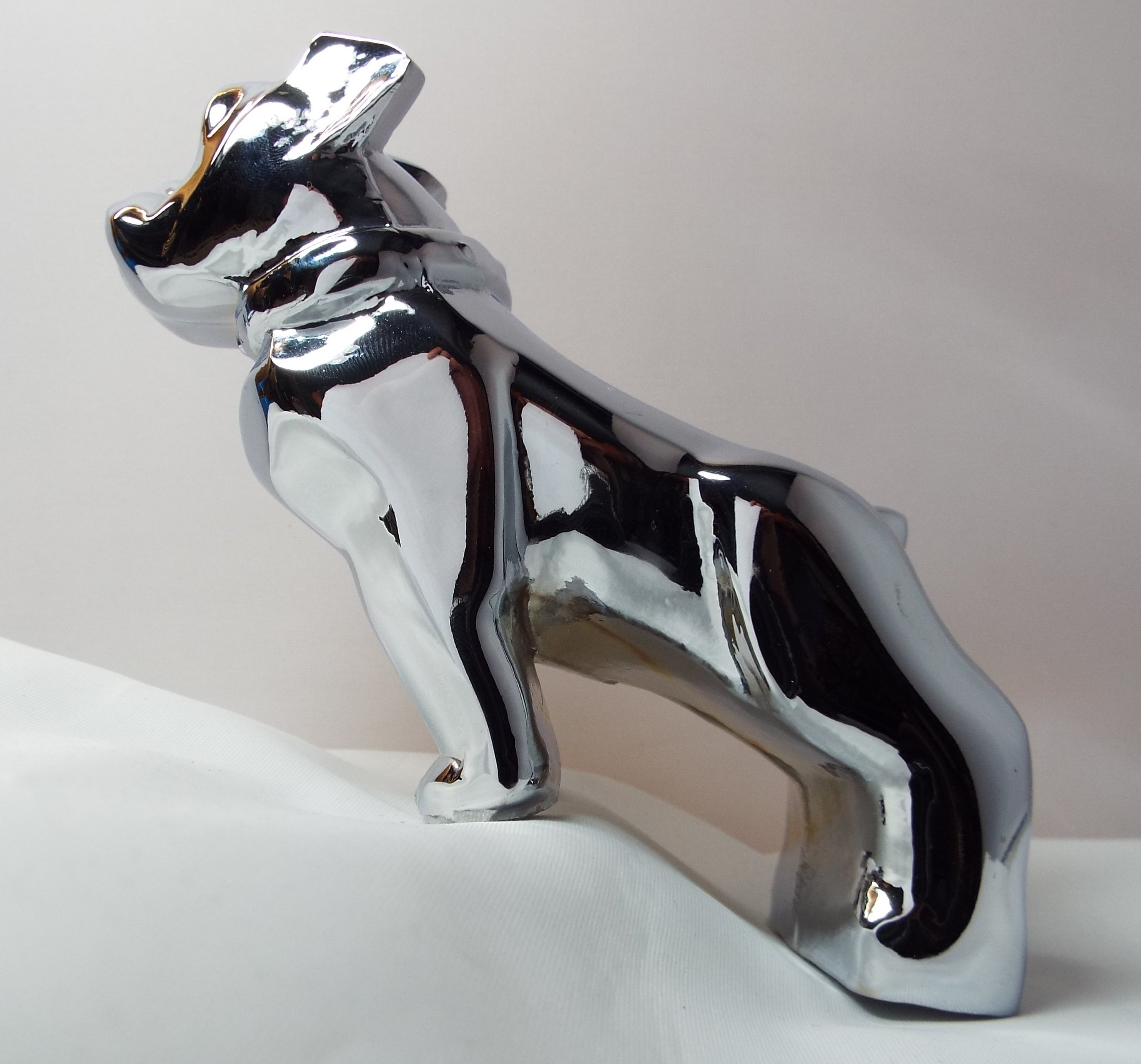 Large Bulldog Bonnet Mascot -Chrome Plated