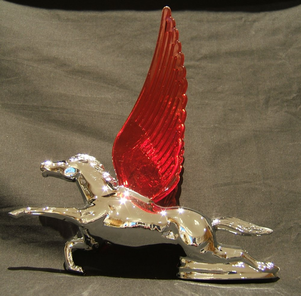 Flying Horse with Red Illuminated Wings-Chrome Plated