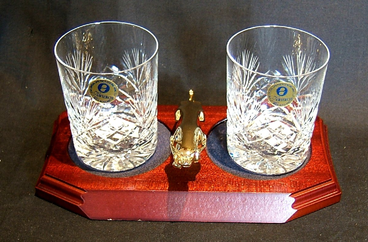 Small Gold Plated Jaguar Mounted on a wood Plinth with Two Lead Crystal Whisky Tumblers