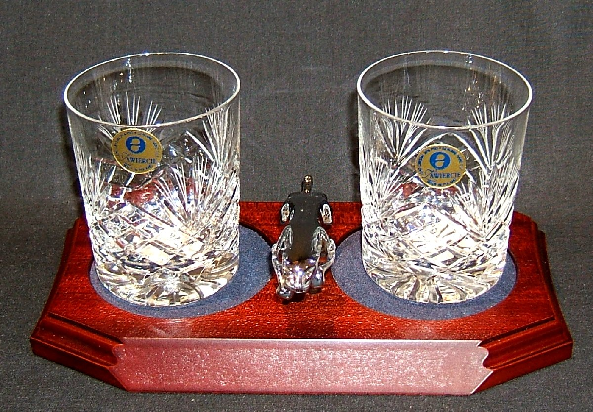 Small Chrome Plated Jaguar Mounted on a wood Plinth with Two Lead Crystal Whisky Tumblers