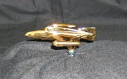 Small Jet Plane Bonnet Mascot -Gold Plated