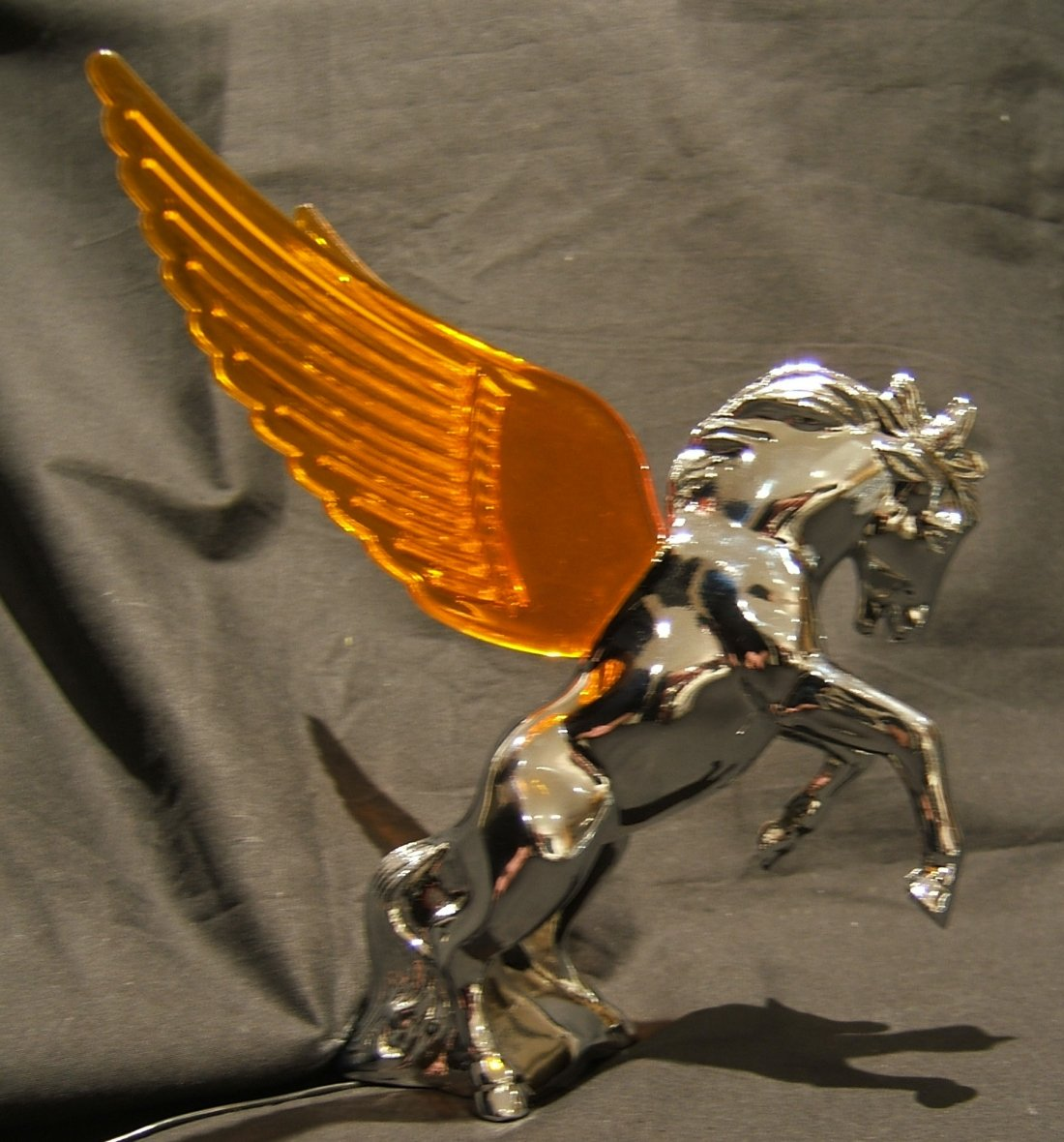 Stallion Mascot with Amber Illuminated Wings-Chrome Plated