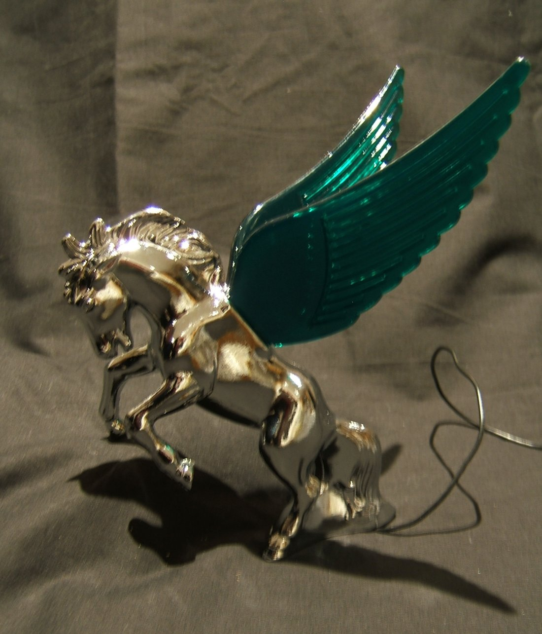Stallion Mascot  with Green Illuminated Wings-Chrome Plated