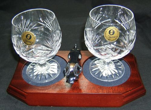 Small Chrome Plated Jaguar Mounted on a wood Plinth with Two Lead Crystal Brandy Glasses