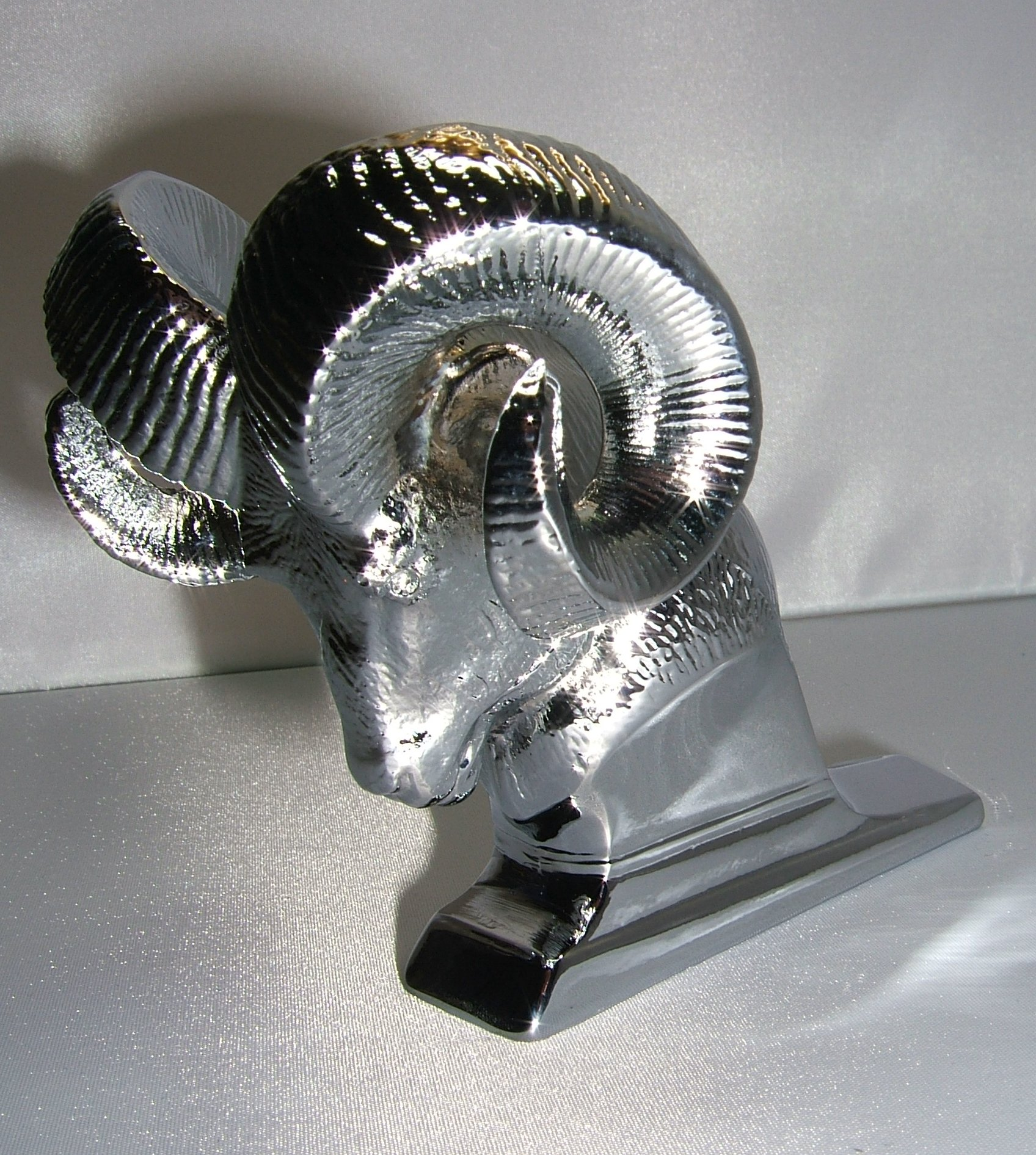 Small Rams Head Bonnet Mascot -Chrome Plated