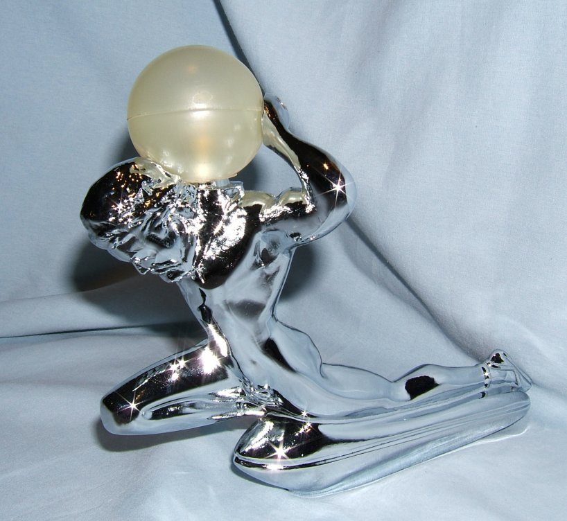 Mighty Atlas with Illuminated Globe -Chrome Plated