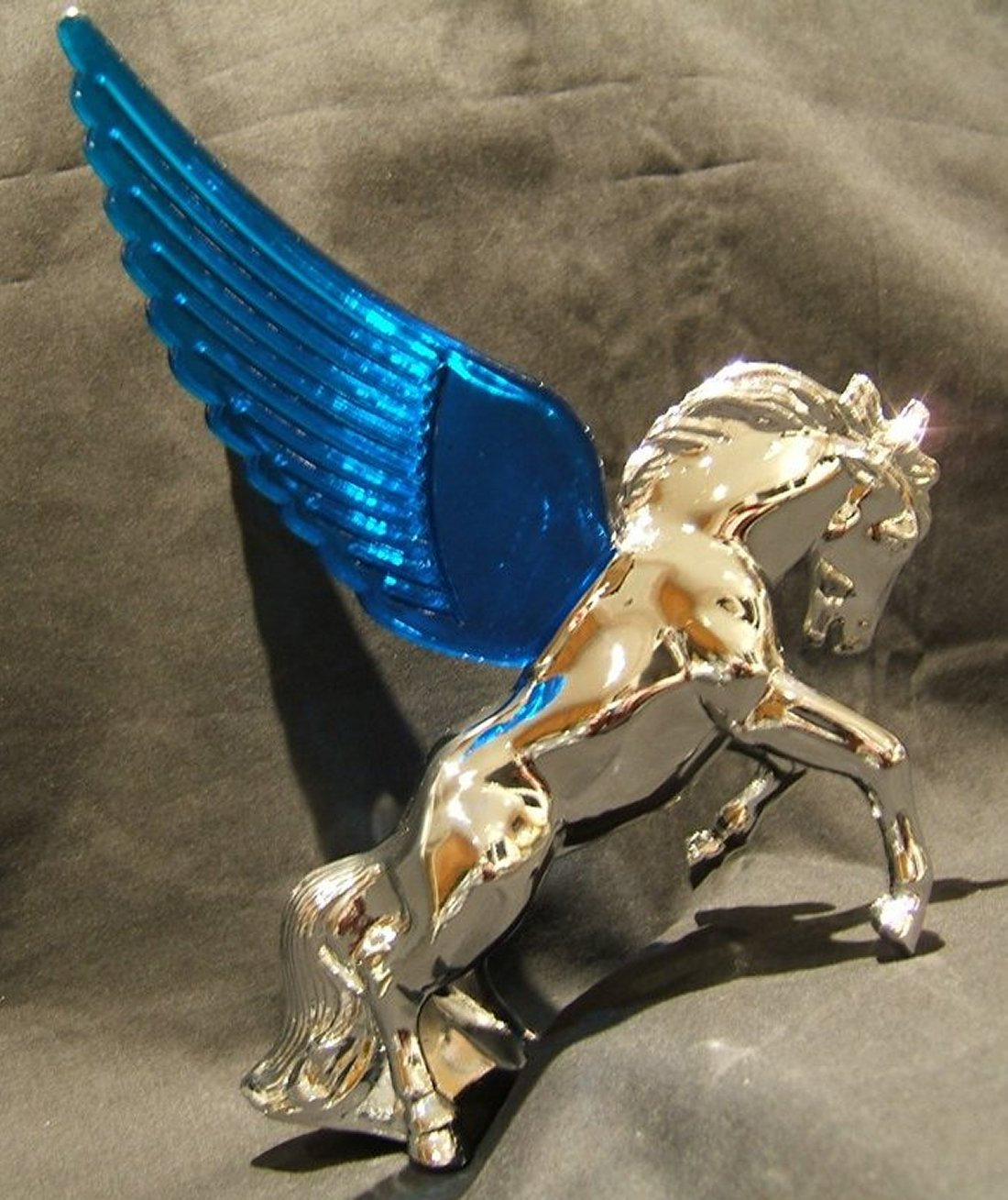 Stallion Mascot with Blue Illuminated Wings-Chrome Plated