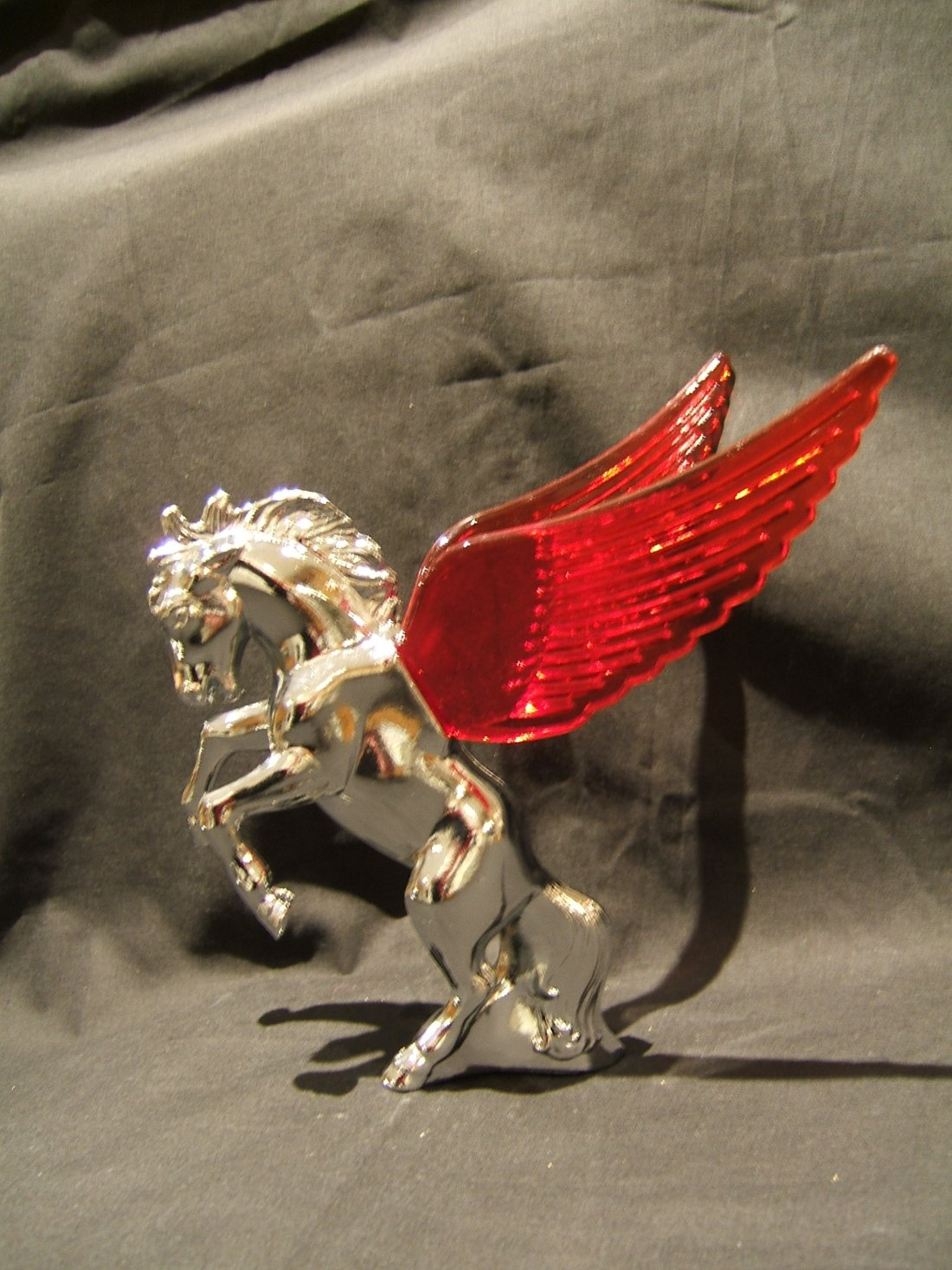 Stallion Mascot with Red Illuminated Wings-Chrome Plated