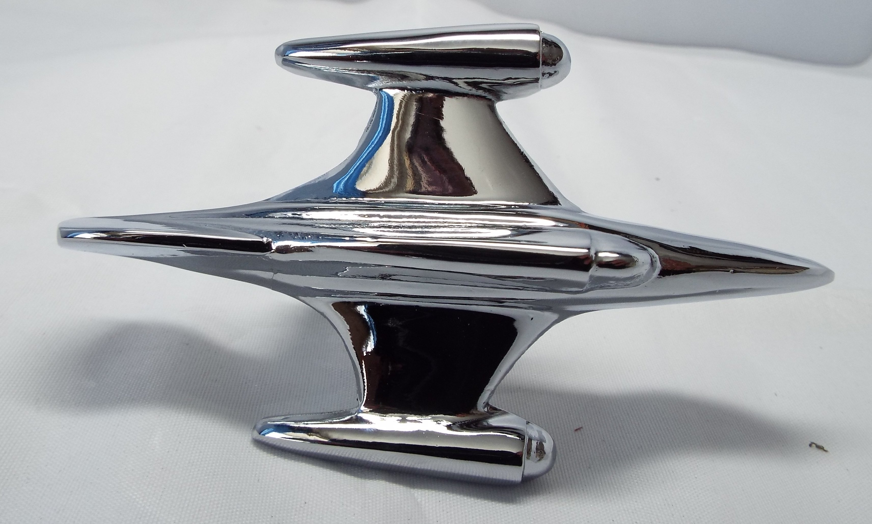 Small Jet Plane Bonnet Mascot -Chrome Plated