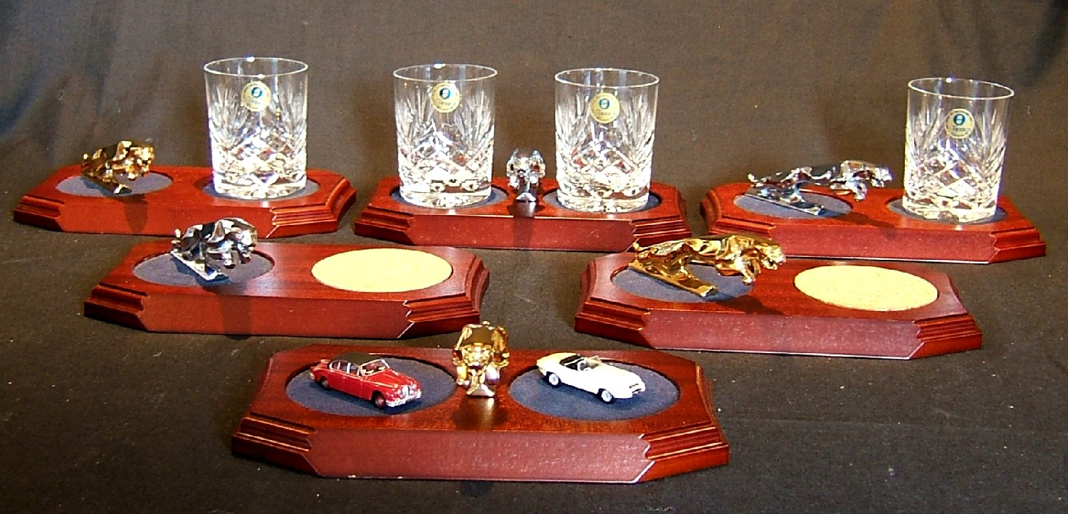 Jaguar Desk Ornaments & Glass Coasters