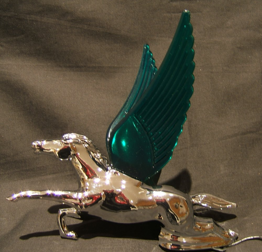 Flying Horse with Green Illuminated Wings-Chrome Plated